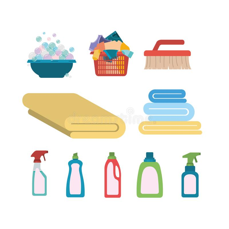 White background of colorful set elements of laundry and cleaning items vector illustration
