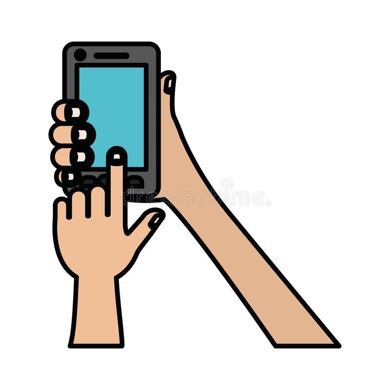 White background with colorful silhouette of hands holding smartphone with thick contour. Vector illustration stock illustration