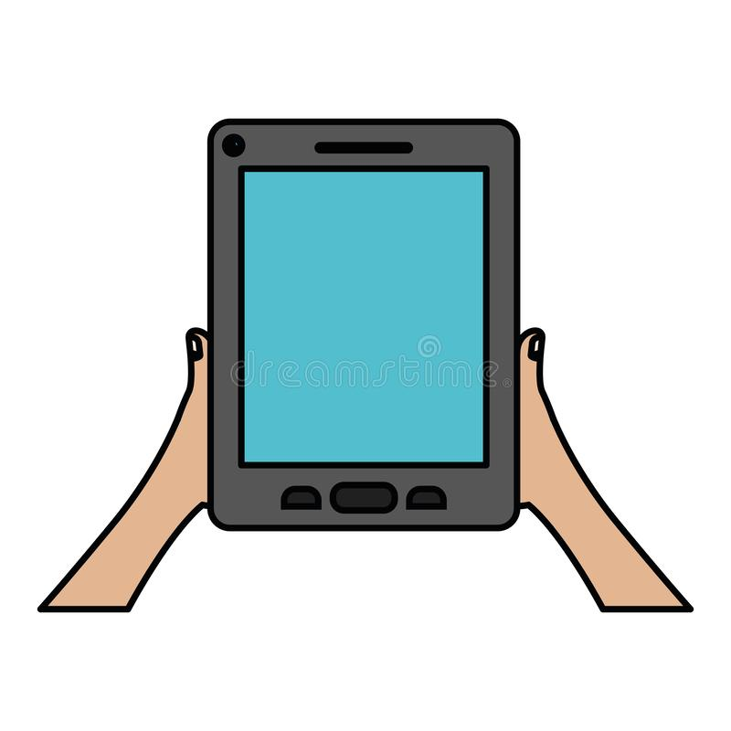 White background with colorful silhouette of hands holding tablet device with thick contour. Vector illustration stock illustration