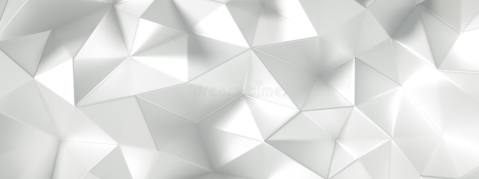 White background with crystals, triangles. 3d illustration, 3d rendering.  stock illustration