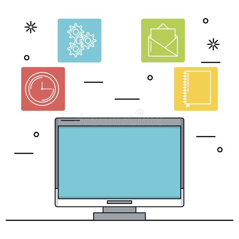 White background with desktop computer in closeup and icons apps in color squares. Vector illustration royalty free illustration