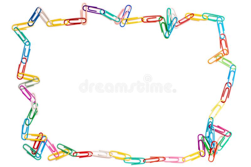 Odd frame made of paper clips on white background royalty free stock photography