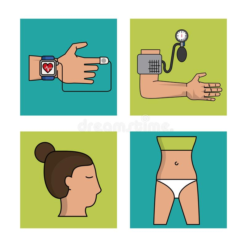 White background with frames of health control with clock pulse monitoring and blood pressure monitor and woman body stock illustration