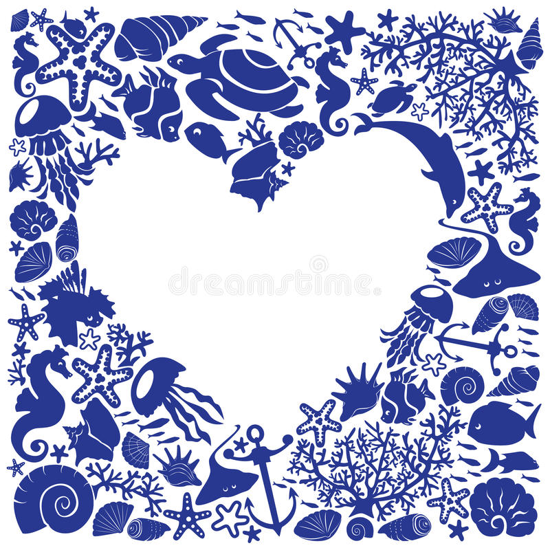 Download White Background Heart Is Surrounded Of Fishes Stock Vector - Image: 28441255