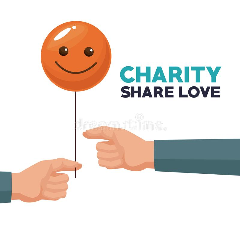 White background human hand giving a balloon form of happy face charity share love. Vector illustration stock illustration