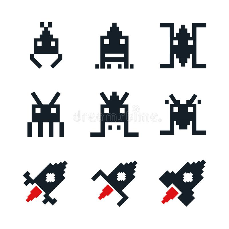 White background with icons space aliens and spatial rocket old arcade game stock illustration