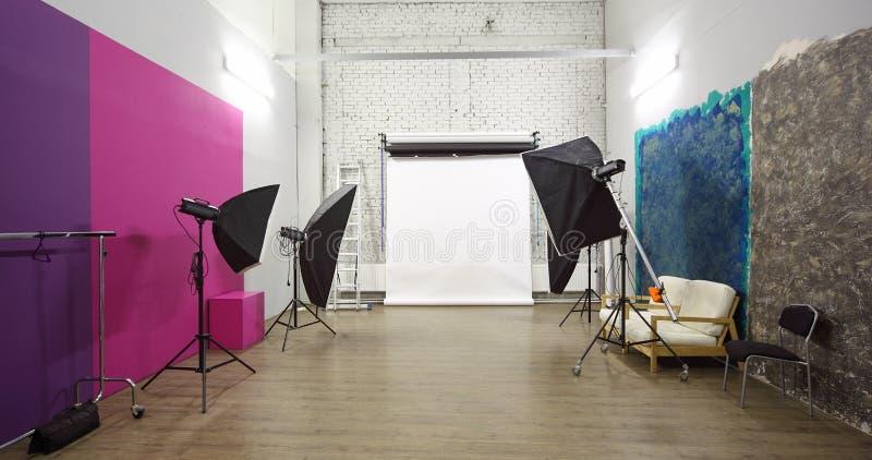 White background inside studio - light room royalty free stock photography