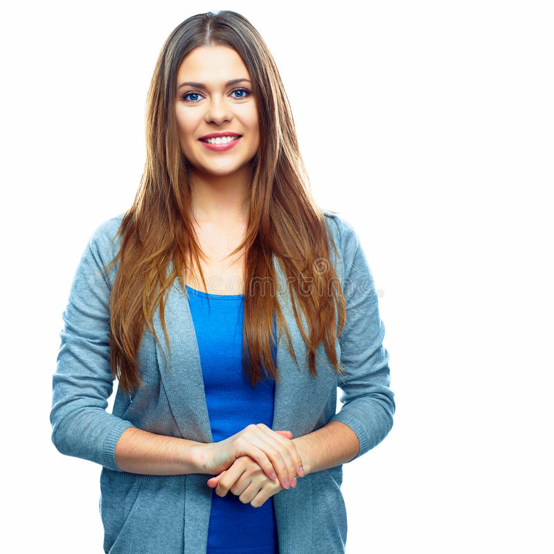 White background isolated smiling woman. Casual st. Yle female young model royalty free stock photos