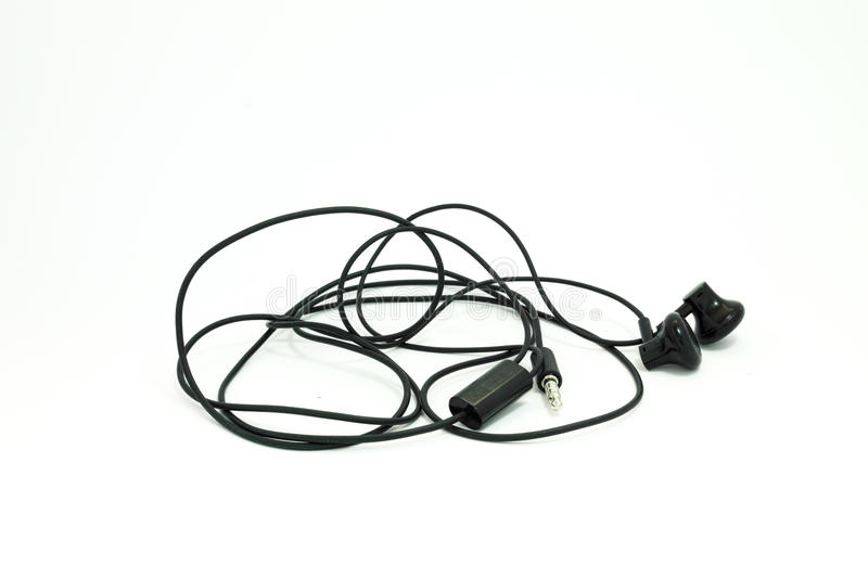 A white background of Modern portable audio black earphones isolated stock photos