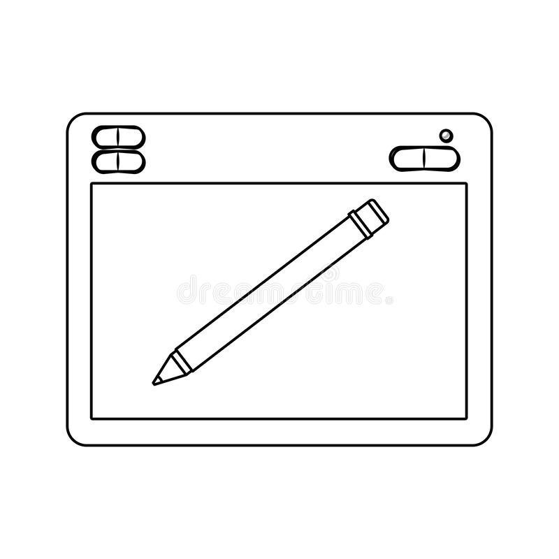 White background with monochrome silhouette of designers graphic table with digital pen. Vector illustration stock illustration