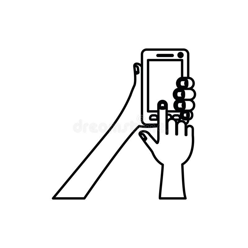 White background with monochrome silhouette of hands holding smartphone. Vector illustration vector illustration