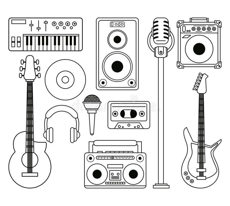 White background with monochrome silhouette of musical instruments and playback devices. Vector illustration vector illustration
