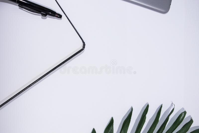 White clean study desktop background stock image
