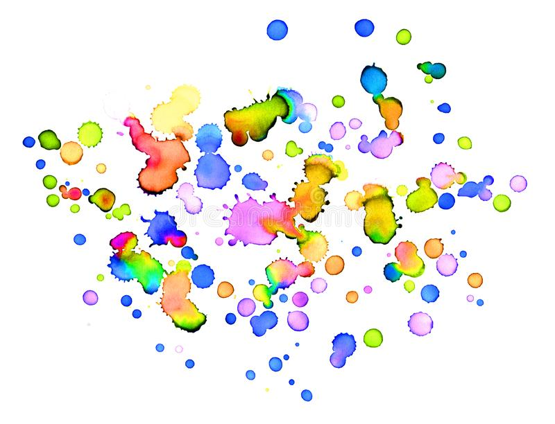 White background and paintbrush blobs with many colors. Many colorful blobs of watercolor on white background stock illustration