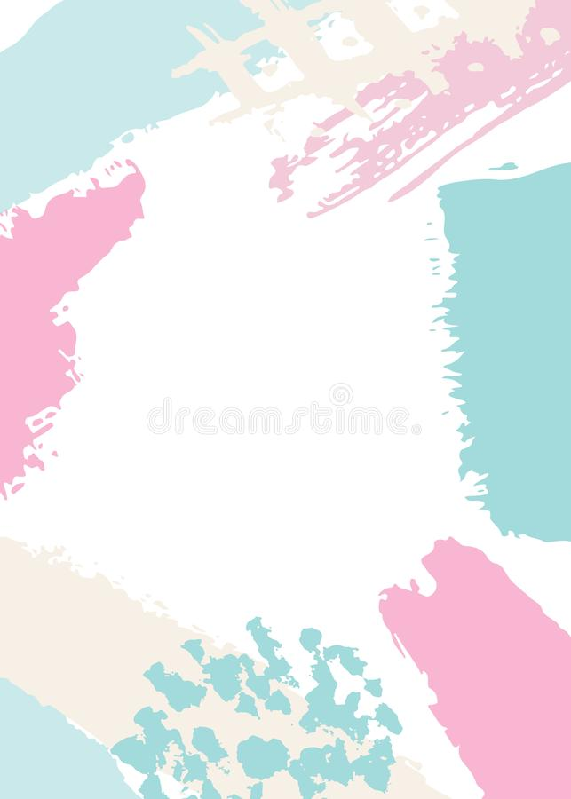 White background with pastel pink, blue and beige abstract stains royalty free illustration