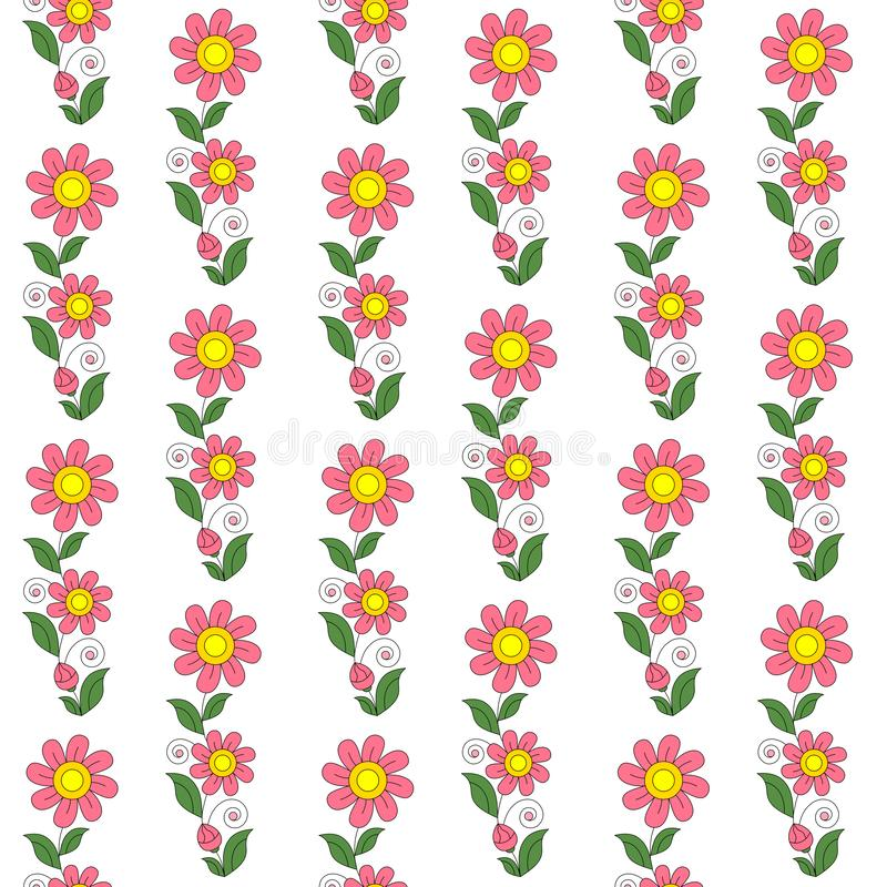 On a white background, pink flowers with green leaves. Background abstract summer pattern. royalty free illustration
