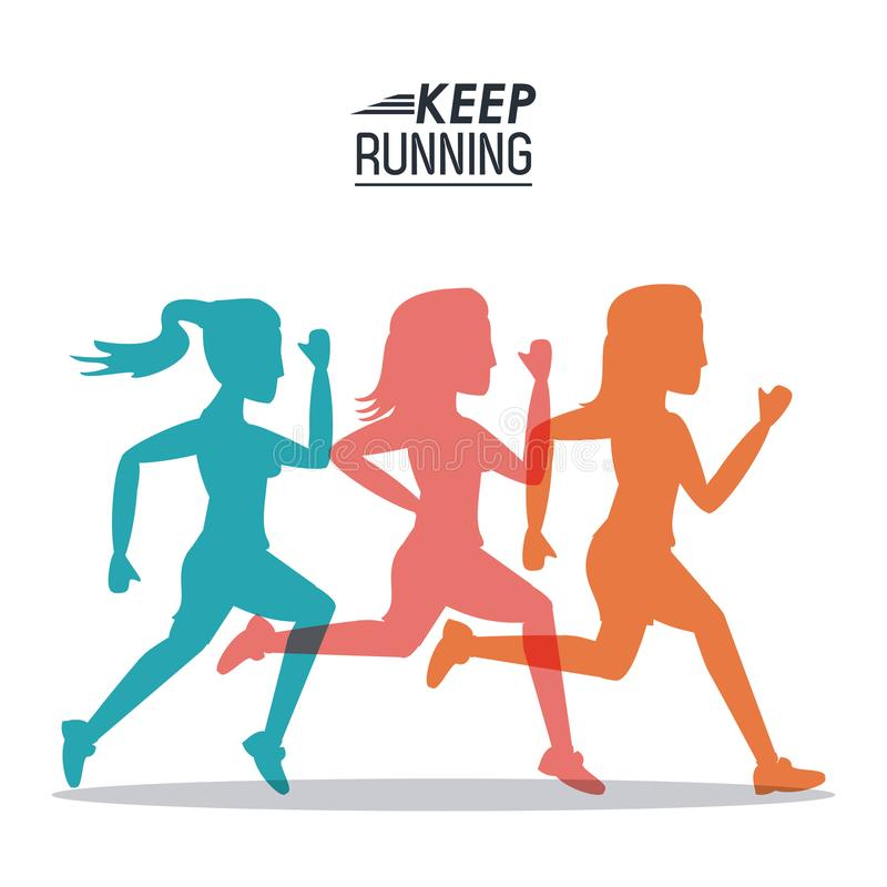 White background of poster keep running with colorful women silhouettes athletes royalty free illustration