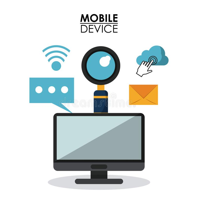 White background poster of mobile device with desktop computer and common icons in top view. Vector illustration stock illustration