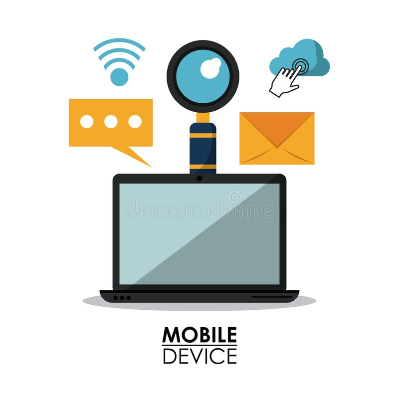 White background poster of mobile devices with laptop computer and common icons stock illustration