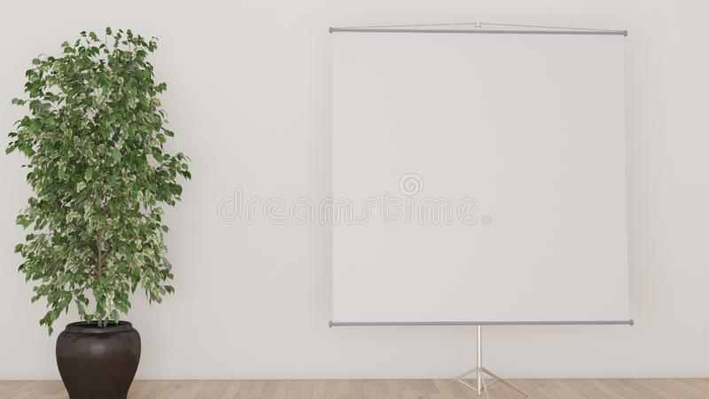 White background with projection screen and a big plant 3D illustration royalty free illustration