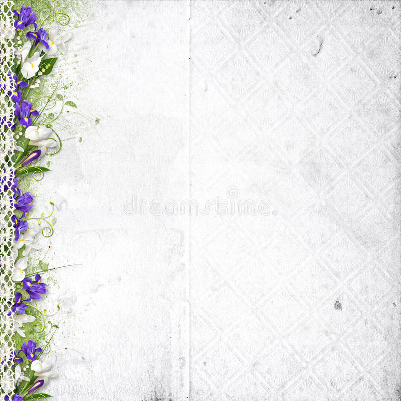 White background with purple spring flowers stock illustration