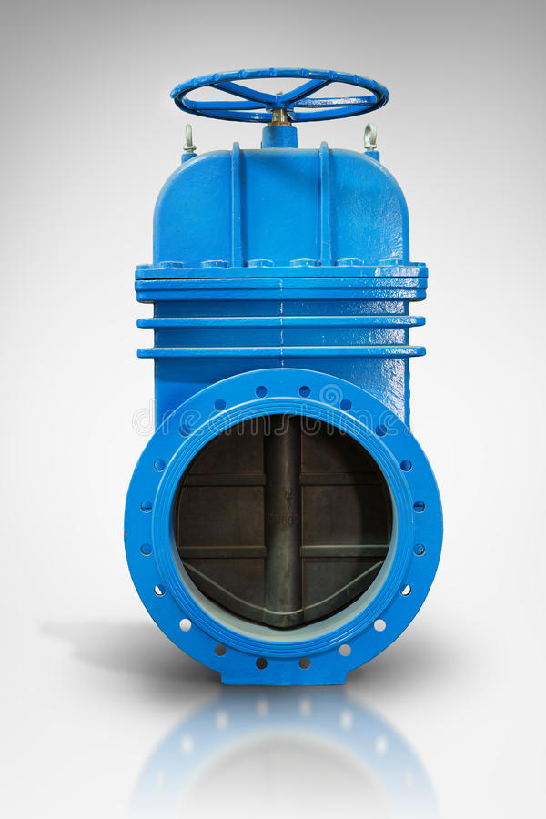 On a white background with reflection blue metal shut-off valve for gas pipelines. Sliding knife gate valve Shutoff and control va stock photos