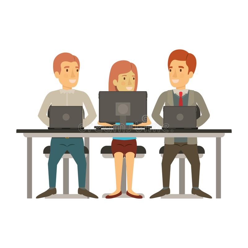 White background with teamwork of woman and men sitting in desk with tech devices. Vector illustration vector illustration