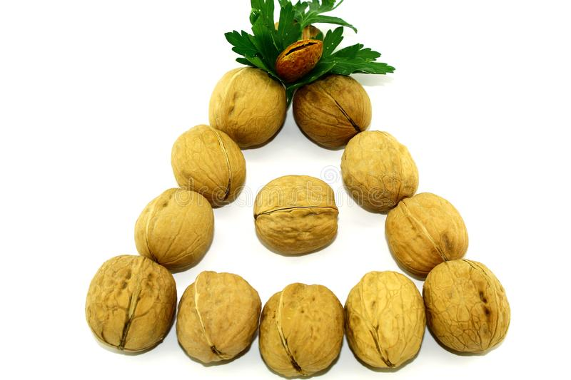 Triangle of 12 walnuts and one almond on a white background royalty free stock photography
