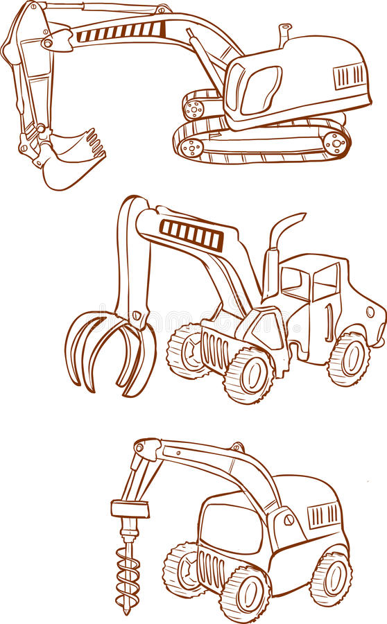 White background Vector illustration of a Heavy machines vector illustration
