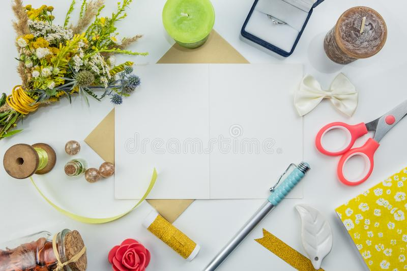 White background with wedding props flat lay royalty free stock photos