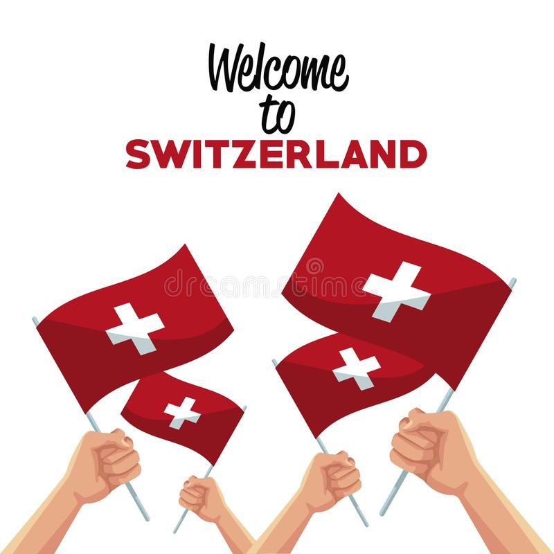 White background of welcome to switzerland with set hands holding traditional flag. Vector illustration royalty free illustration