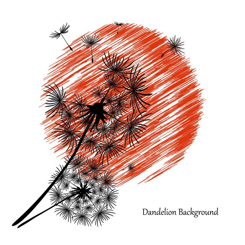 Free White Background With Two Dandelions And A Red Sun. Black Silhouette Of A Dandelion. Flower Seeds Fly To The Sky. Summer Dandelion Stock Images - 164332394