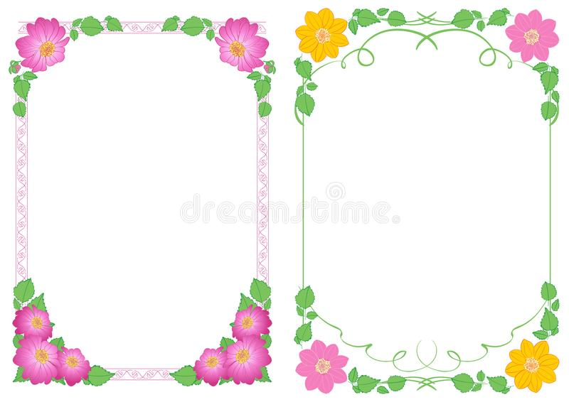 White backgrounds A4 with flowers dahlias in corners - vector vertical decorative frames. White backgrounds A4 with flowers dahlias in corners -  vector vertical royalty free illustration