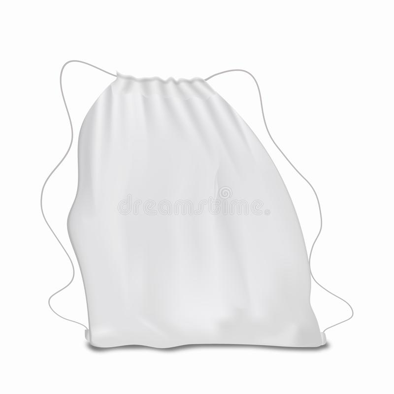 White backpack with laces. Sport bag mockup on white background stock illustration