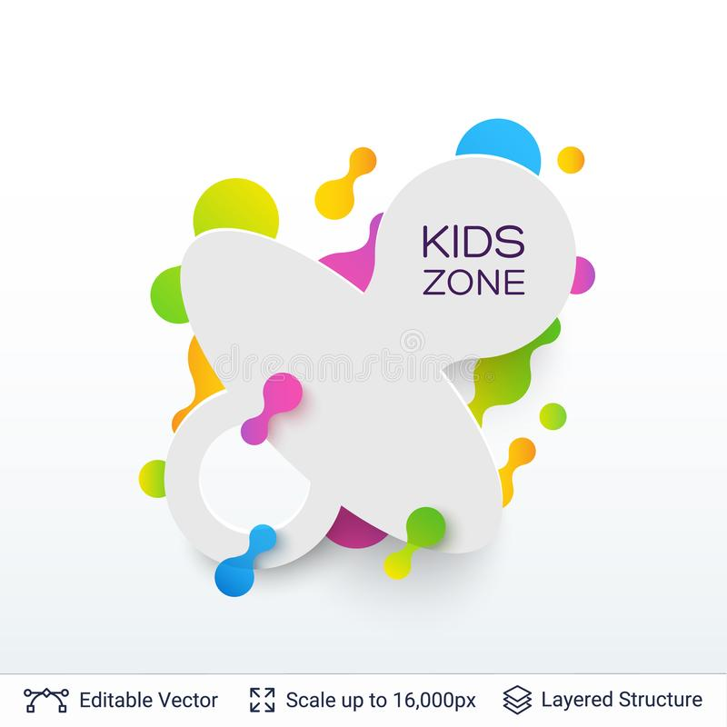 Download white badge kids zone sticker stock vector illustration of design abstract