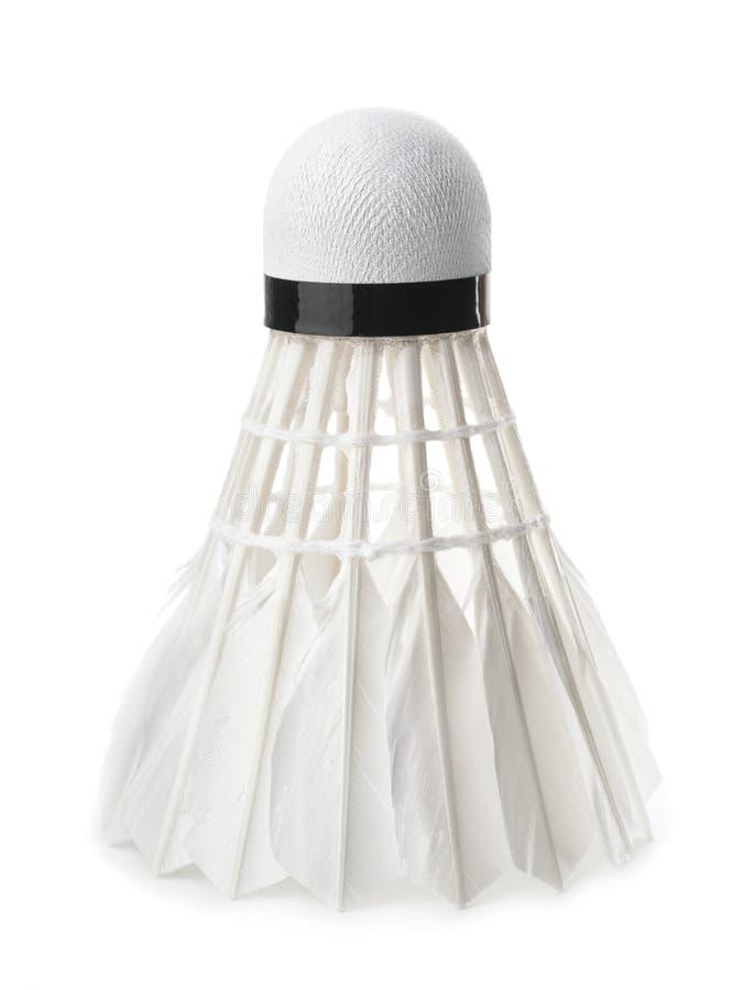 White badminton feather shuttlecock. Isolated on white stock photos