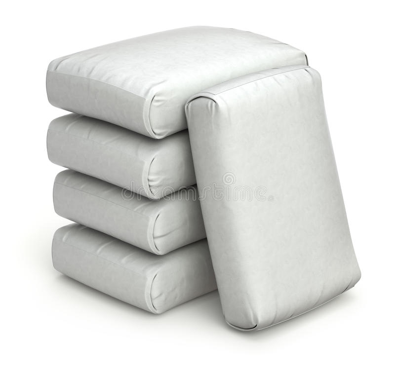White bags. Stack of white bags on white background - 3D illustration vector illustration