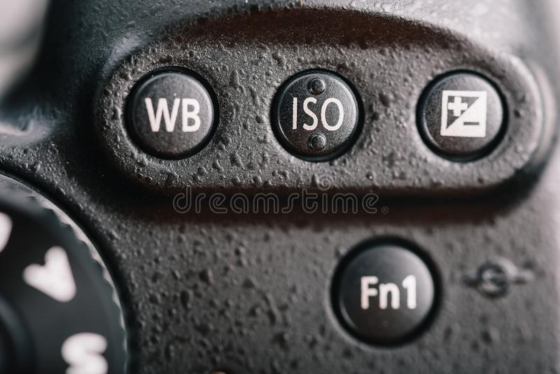 White Balance, ISO And Exposure Compensation Button On Digital Camera stock photos