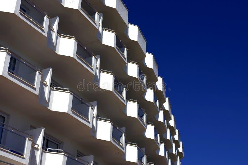 White balconies stock photography