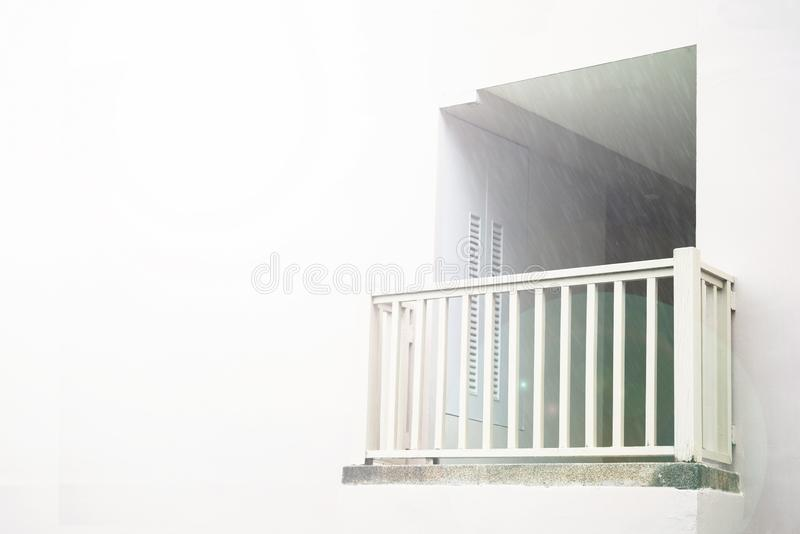 White balcony, divine radiance, against the white wall, flooded with light. a place to communicate with God or the royalty free stock images