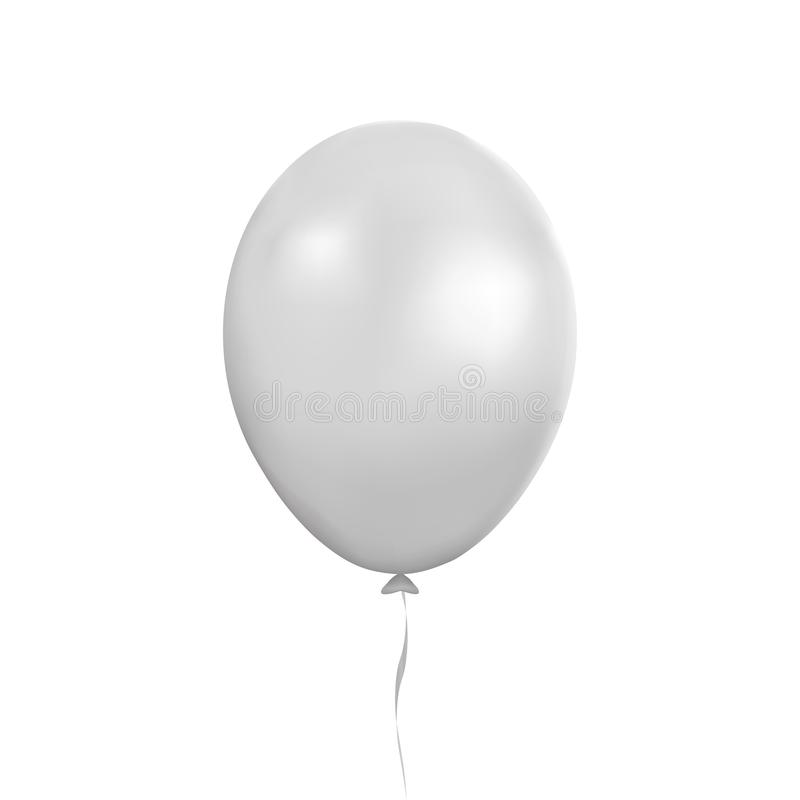 White balloon vector. Party baloon with ribbon and shadov isolated on white background. Flying 3d ba stock illustration