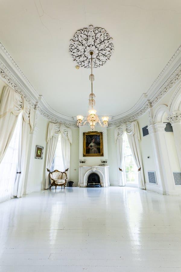 White ballroom in the Nottoway Plantation House royalty free stock photo