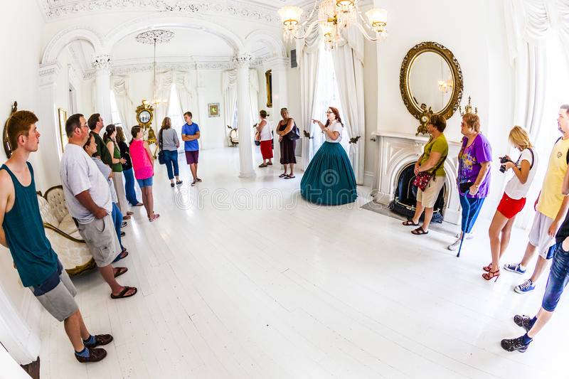 White Ballroom in Nottoway Plantation House stock images
