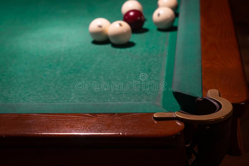 White balls on a billiard table. Russian billiards royalty free stock image