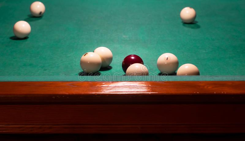 White balls on a billiard table. Russian billiards royalty free stock images