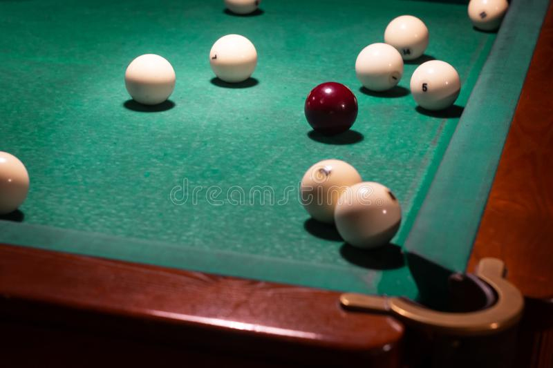 White balls on a billiard table. Russian billiards stock photo