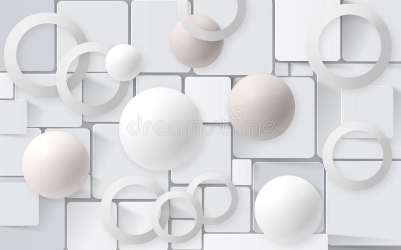 White balls with circles on the background of the tiles. 3D Wallpapers for interior 3D rendering. White balls with circles on the background of the tiles. 3D stock illustration