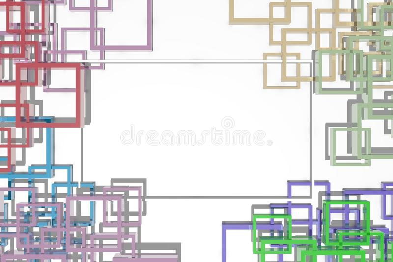 White banner with abstract color frames. royalty free illustration