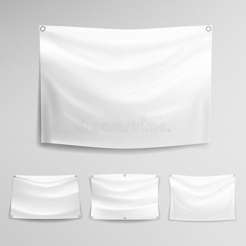 White Banner Set Vector. Horizontal Hanging Banners Mock Up Textile ...