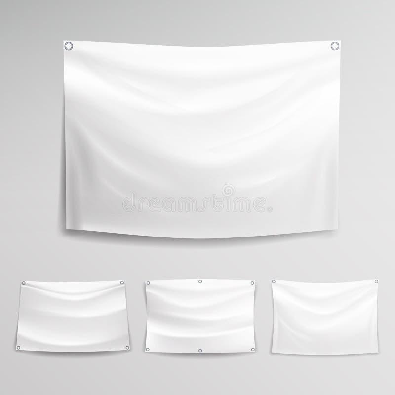 White Banner Set Vector Horizontal Hanging Banners Mock